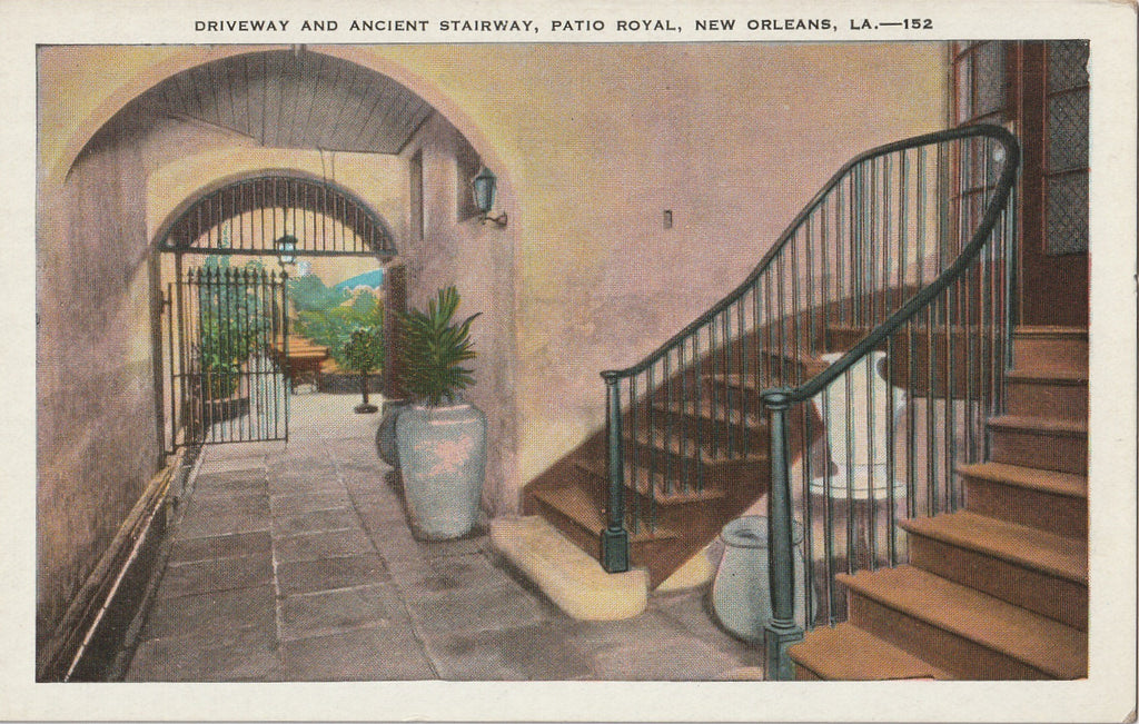 Ancient Stairway Patio Royal New Orleans Vintage Postcard