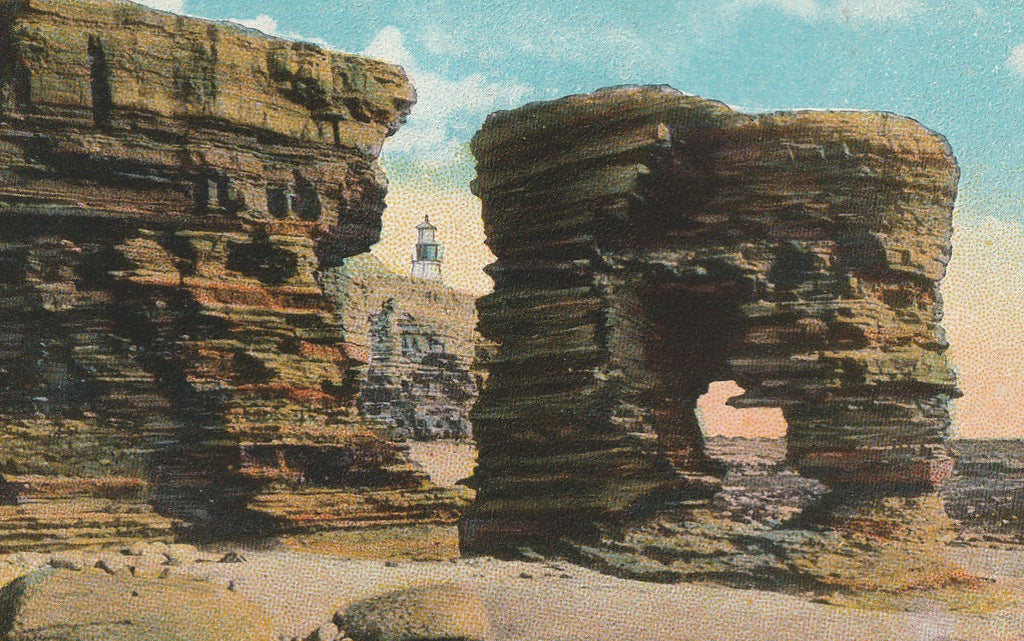Arched Rock Point Loma San Diego CA Antique Postcard Close Up