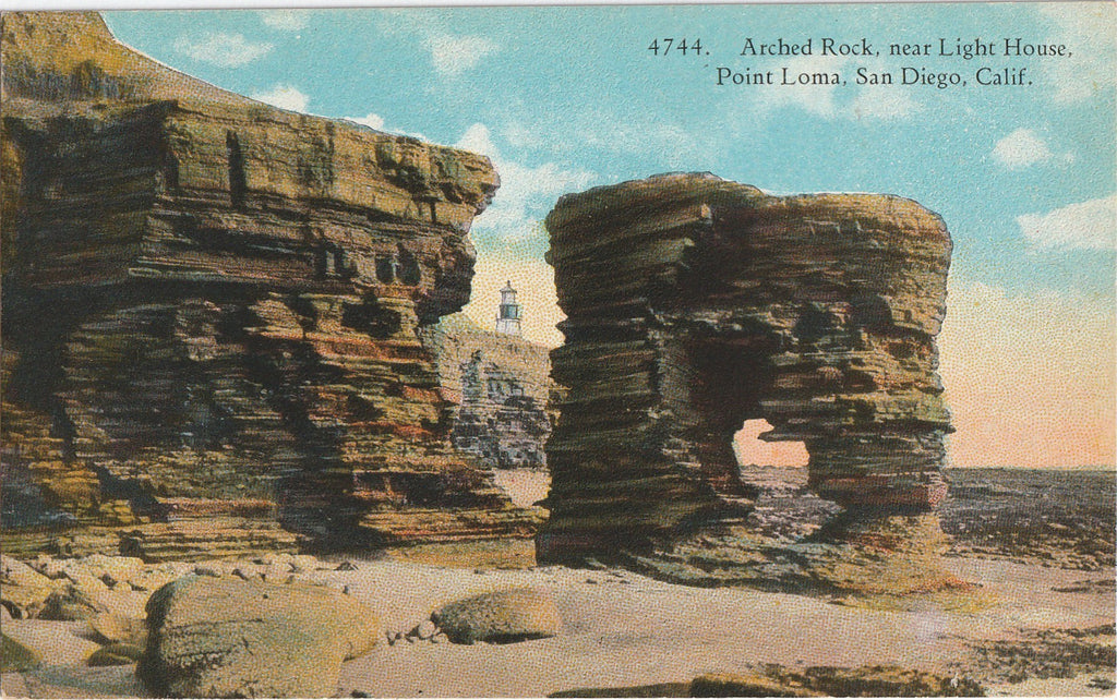 Arched Rock Point Loma San Diego CA Antique Postcard
