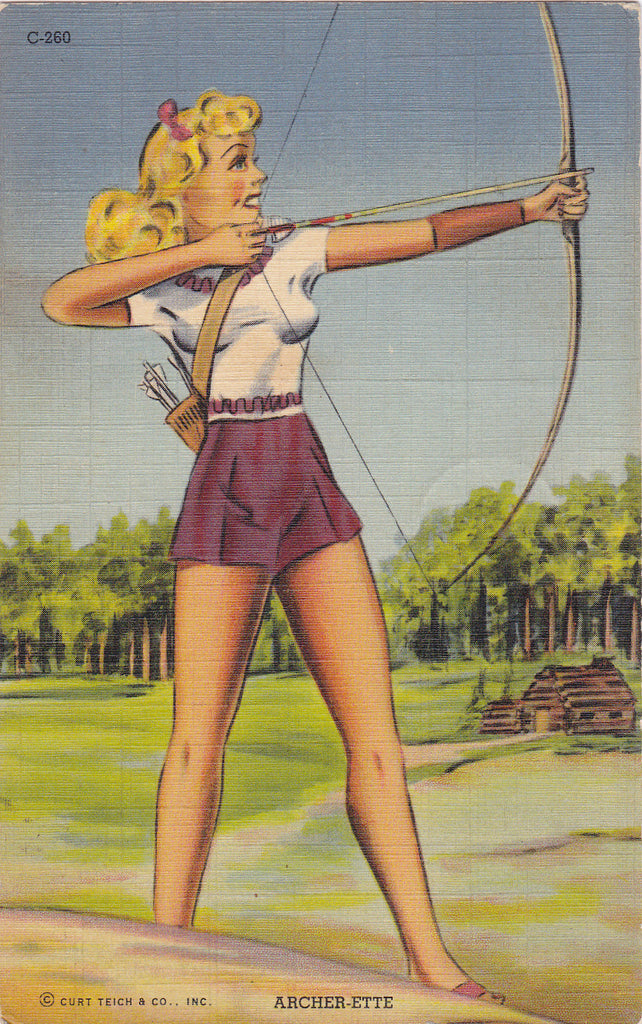 Archer-ette Pin-up Postcard