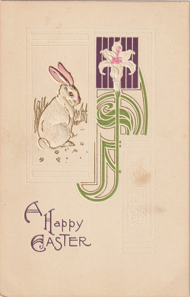 Art Nouveau Easter Bunny S Bergman Antique Postcard