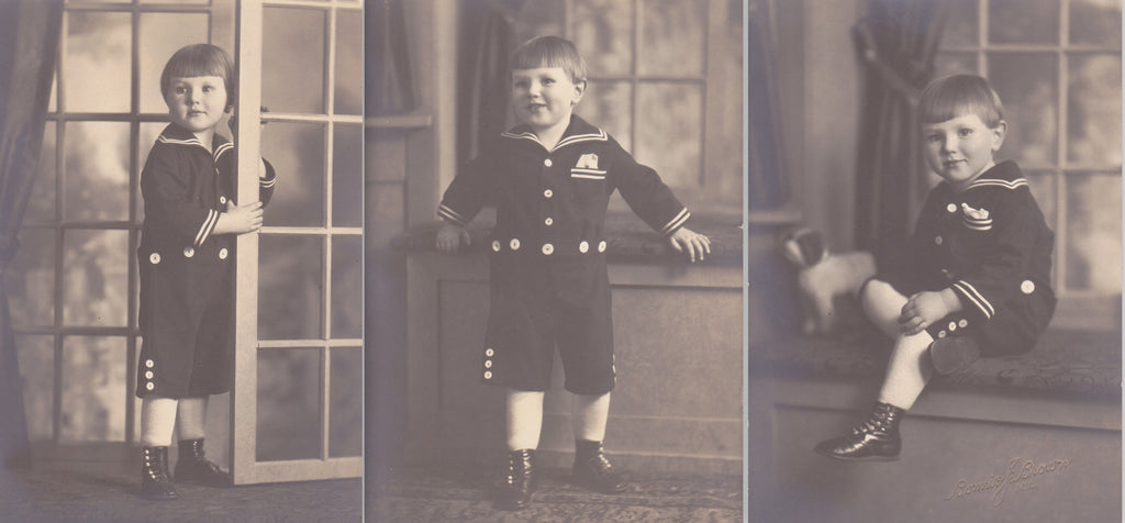 Lovable Sailor Boy- 1920s Antique Photographs- SET of 3- Cute Kid in Nautical Outfit- Studio Portraits