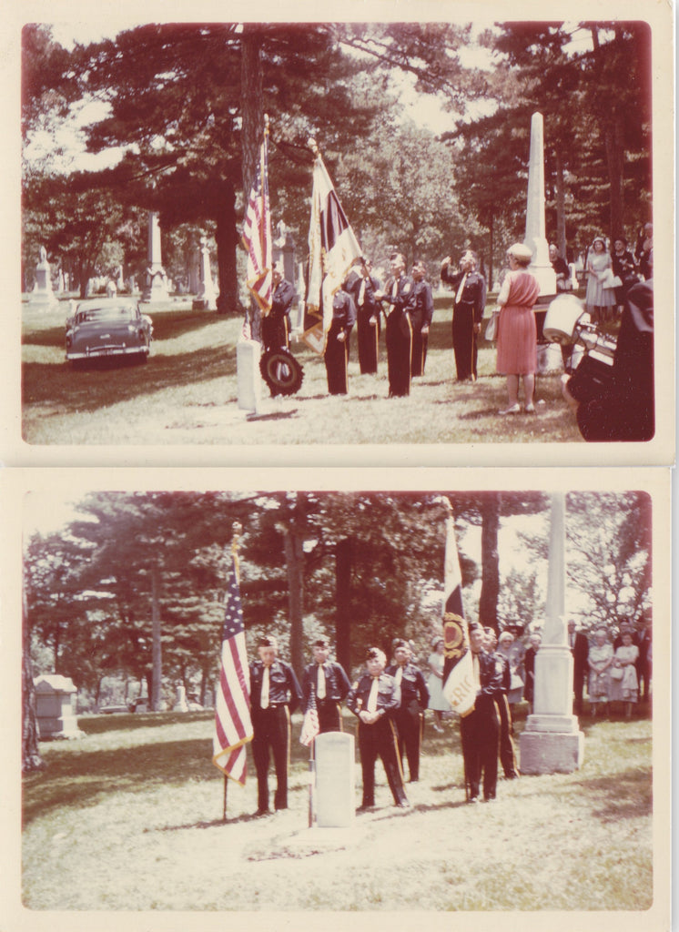 Military Funeral Honors- 1950s Vintage Photographs- SET of 2- Old Color Photos- Cemetery Snapshot- Headstones- Soldier Memorial