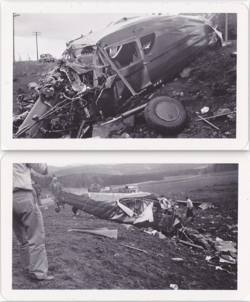 Plane Crash- 1940s Vintage Photographs- SET of 2-  Sep. 17th, 1942- Accident Photo- Airplane Wreckage- Disaster Photos- Snapshots