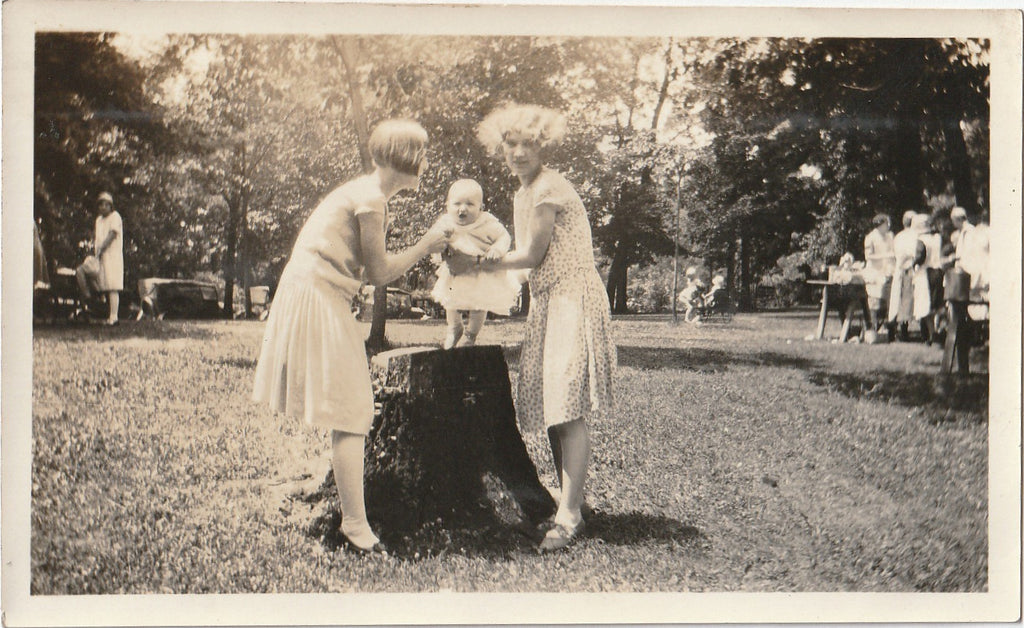 Baby on Tree Stump 1920s Snapshot