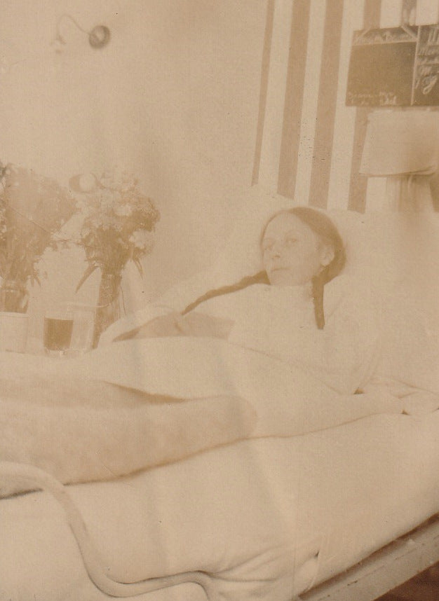Bedridden Woman 1910s Antique Photo Close Up