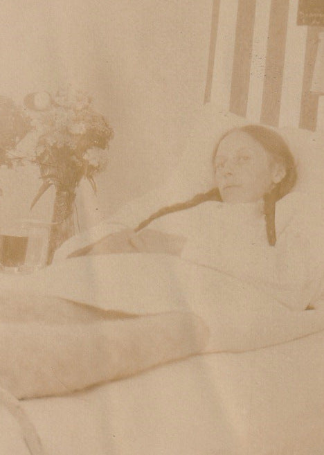 Bedridden Woman 1910s Antique Photo Close Up 2