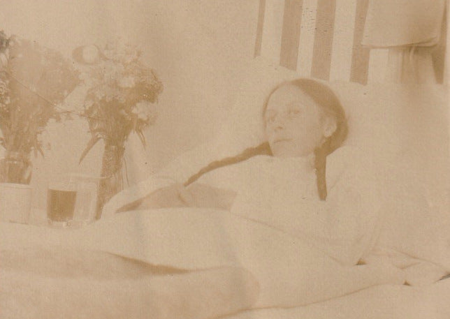 Bedridden Woman 1910s Antique Photo Close Up 3