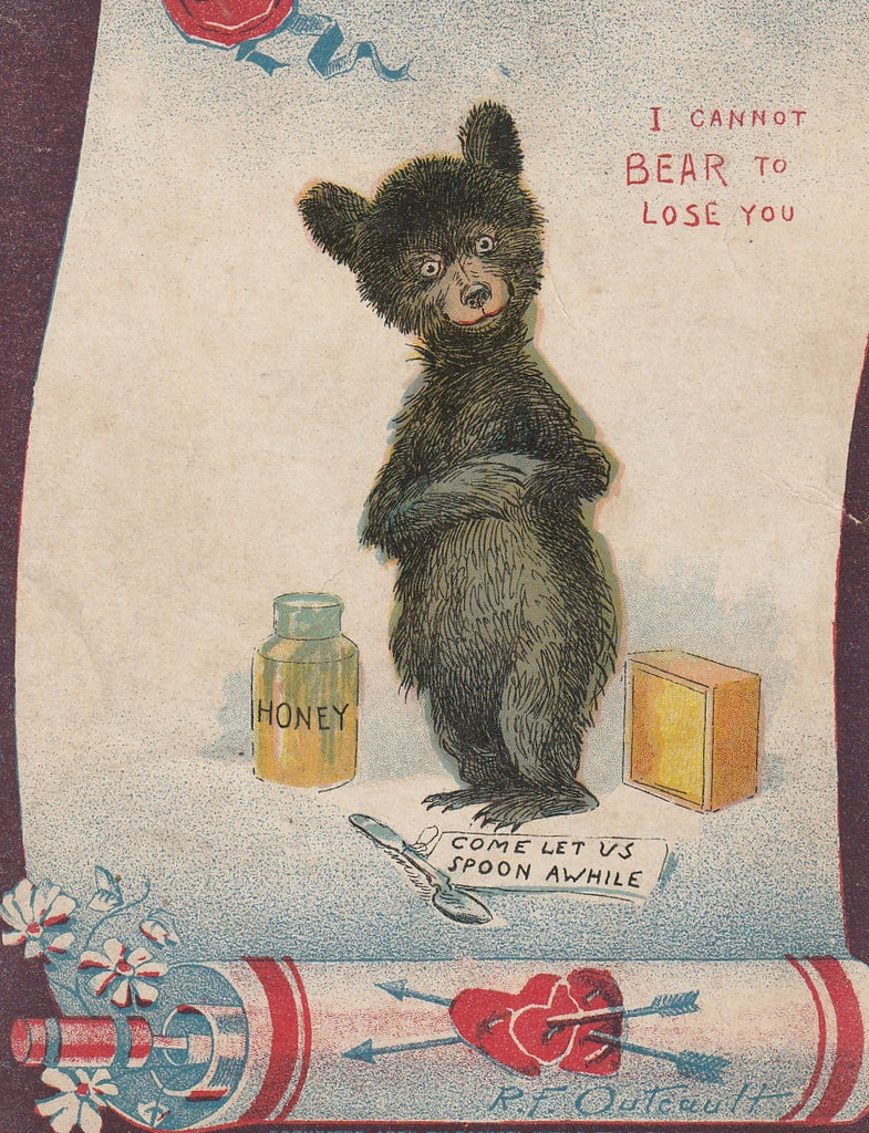Bee My Honey Can't Bear To Lose You R F Outcault Antique Postcard Close Up