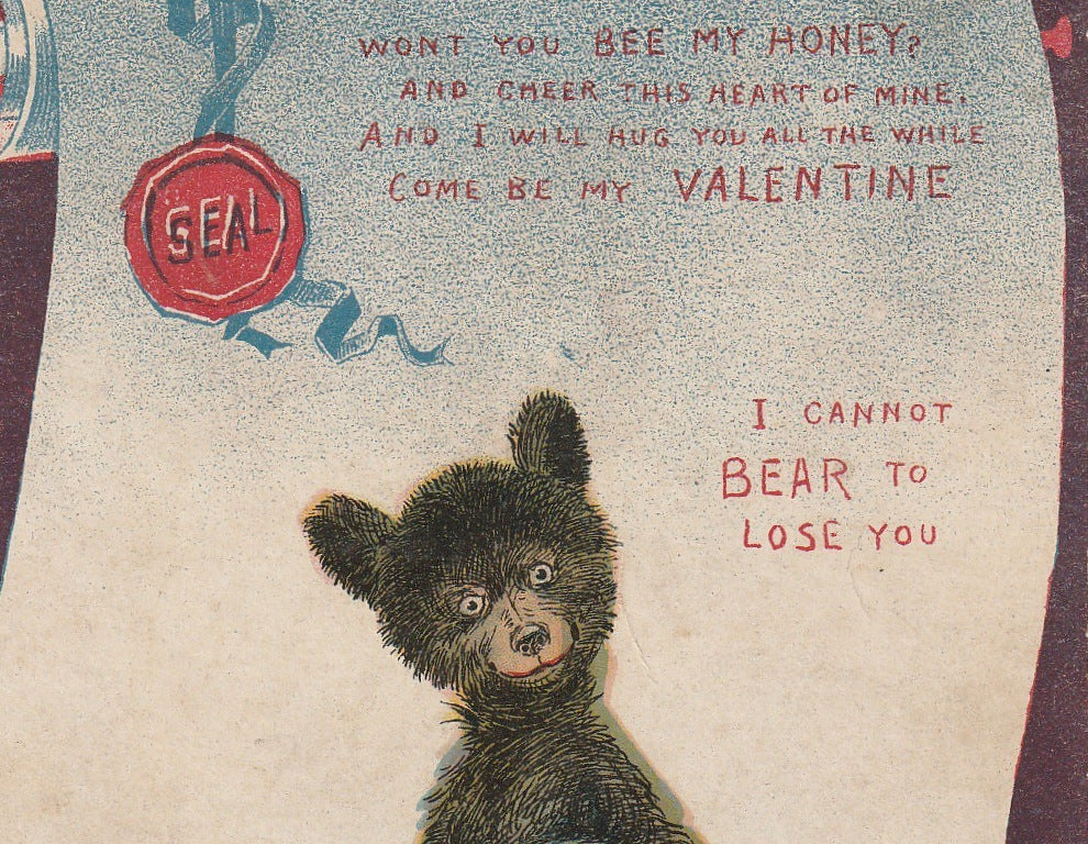 Bee My Honey Can't Bear To Lose You R F Outcault Antique Postcard Close Up 2