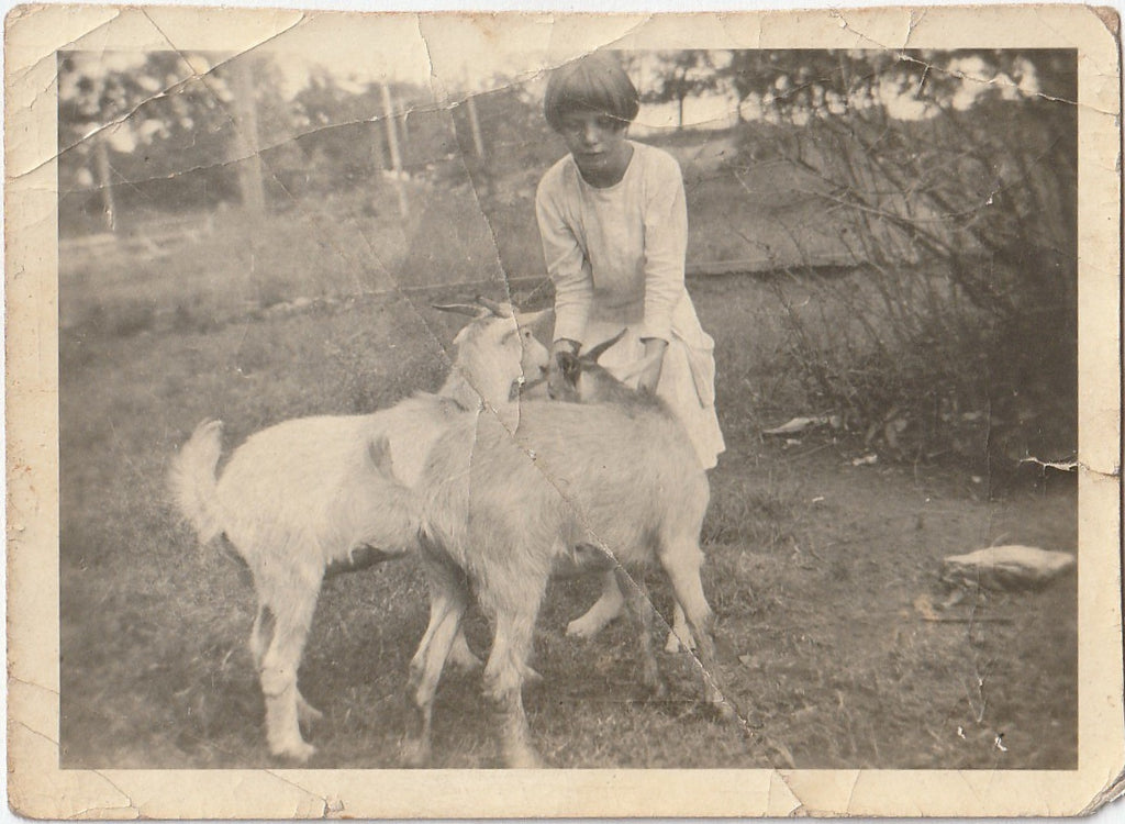 Bernadean and Her Goats Antique Snapshot