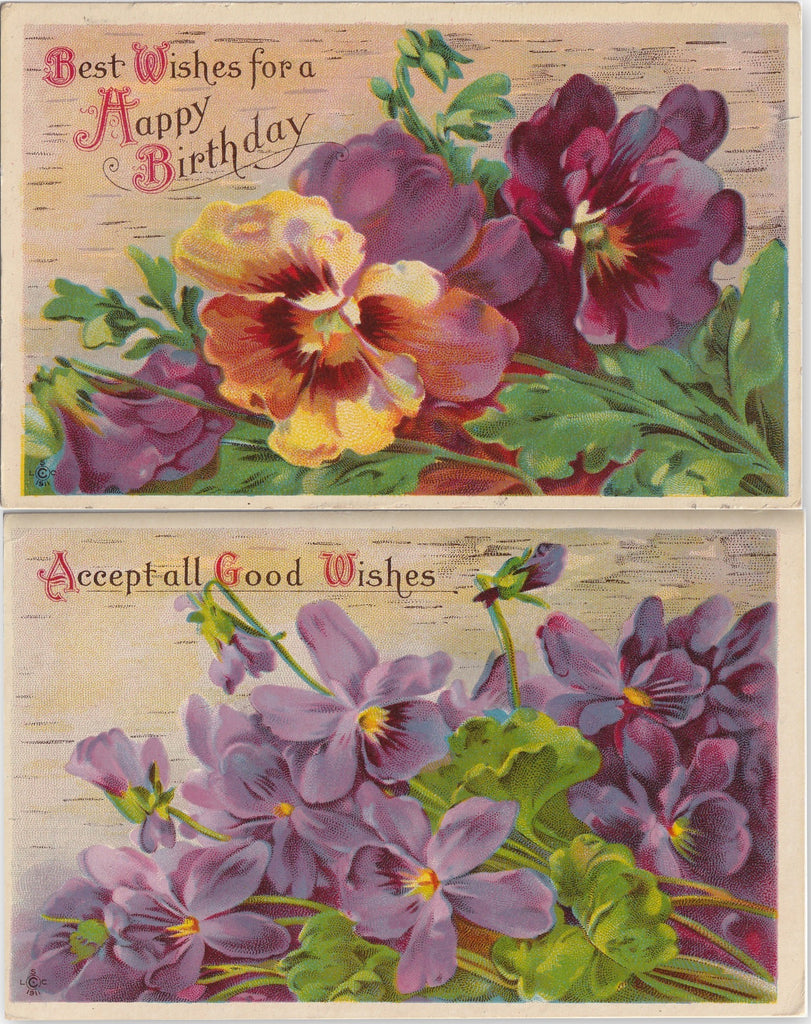 Best Wishes For a Happy Birthday - SET of 2 - Postcards, c. 1910s