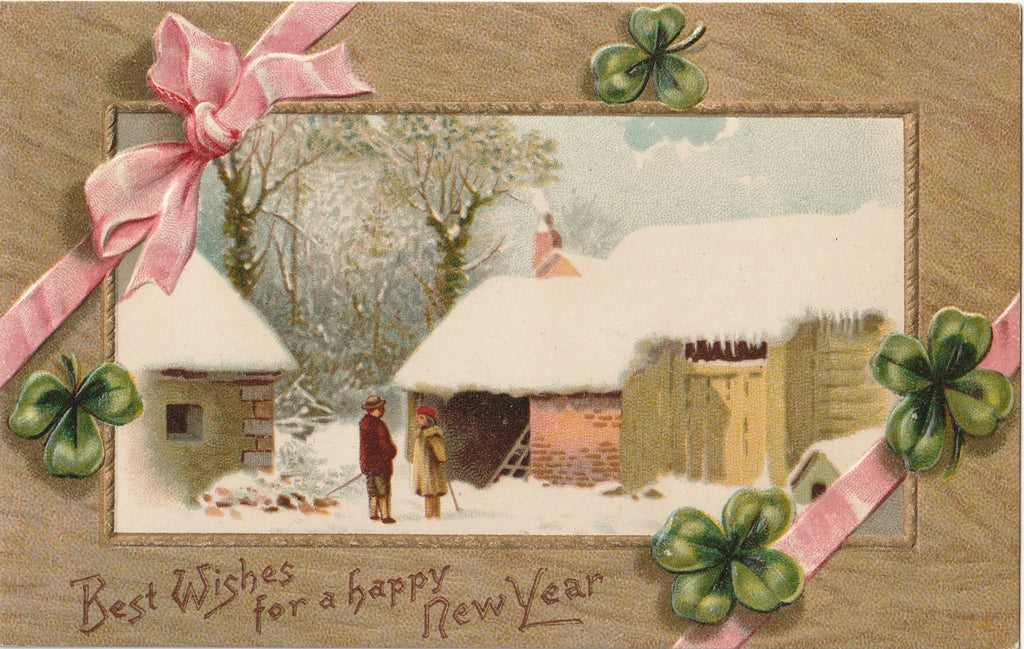 Best Wishes For A Happy New Year Clover Postcard