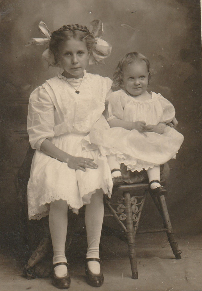 Edwardian Big Sister and Baby RPPC Close Up