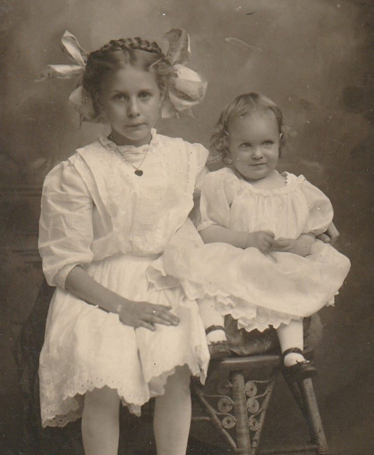 Edwardian Big Sister and Baby RPPC Close Up 2
