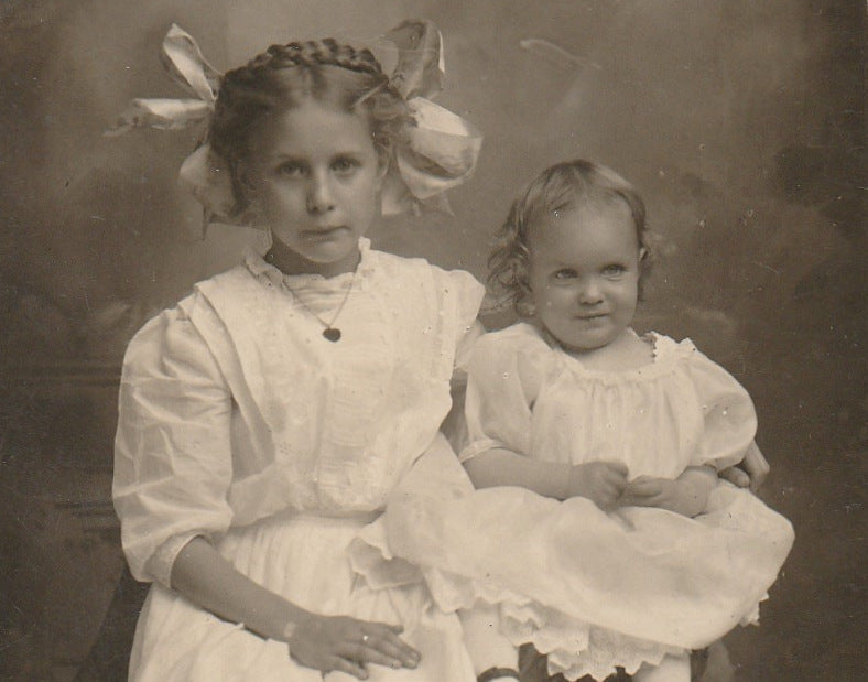 Edwardian Big Sister and Baby RPPC Close Up 3