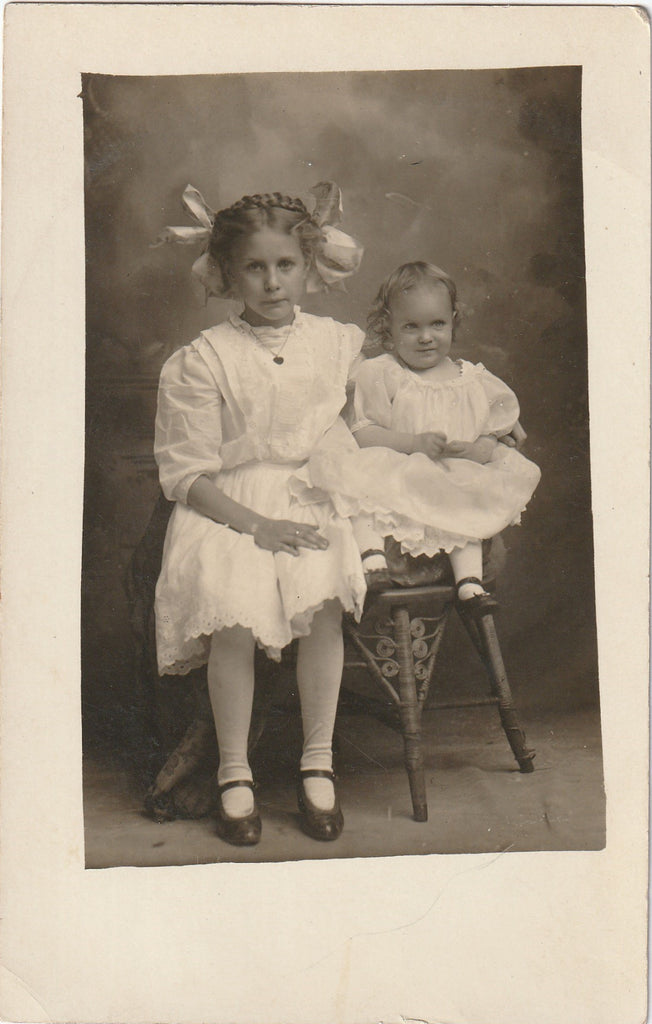 Edwardian Big Sister and Baby RPPC