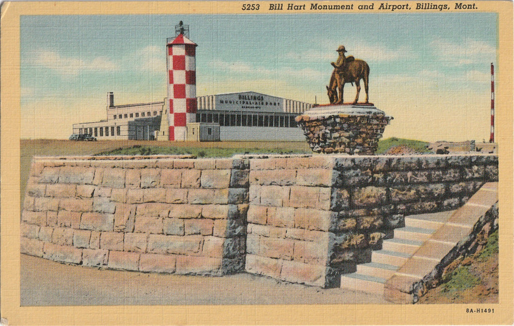 Bill Hart Monument Airport Billings Montana Postcard