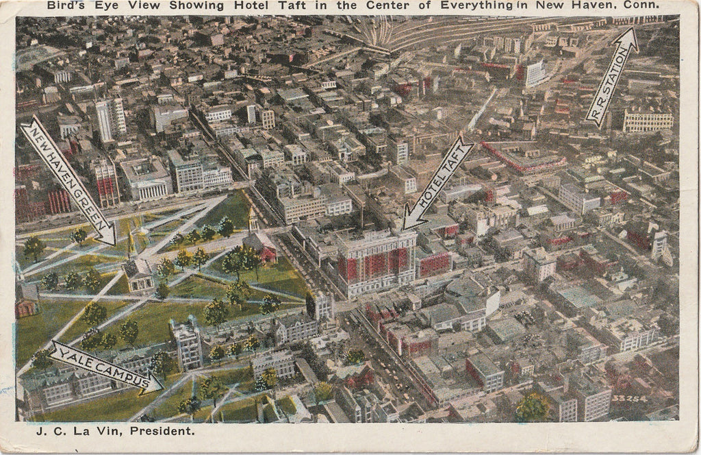 Bird's Eye View New Haven CT Postcard