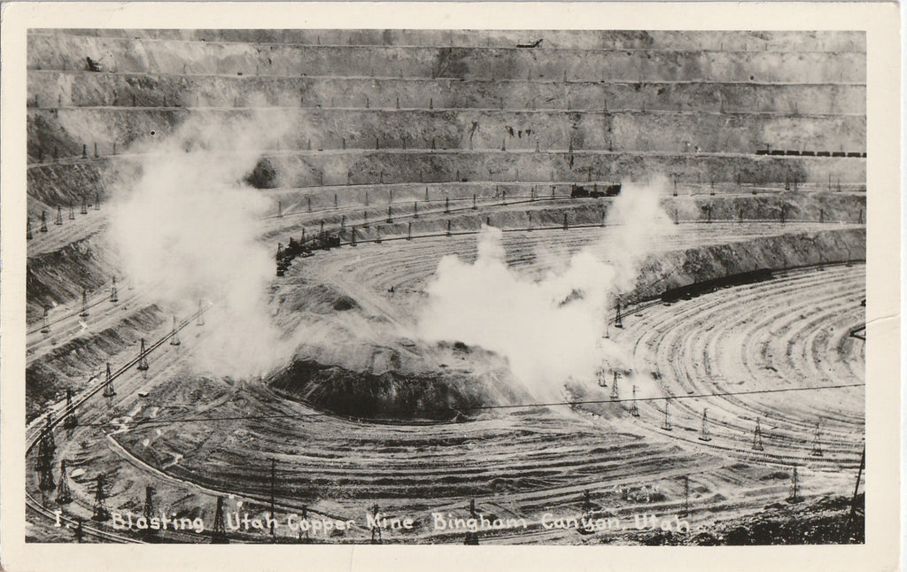 Blasting Utah Copper Mine Bingham Canyon Utah RPPC