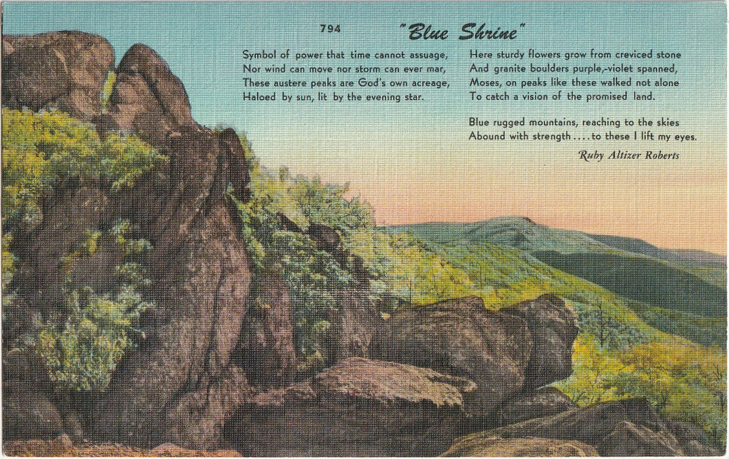 Blue Shrine Ruby Altizer Roberts Postcard