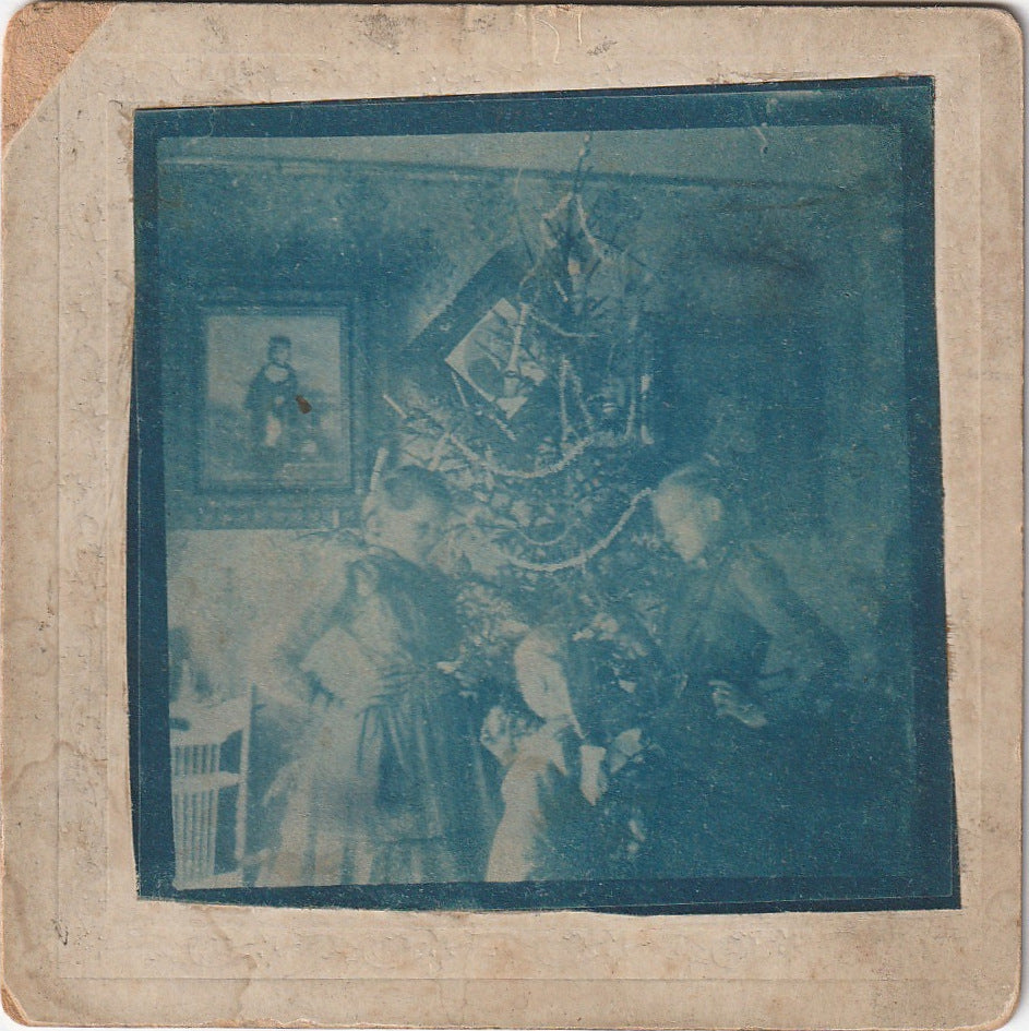 Blue Christmas Antique Cyanotype Cabinet Photo