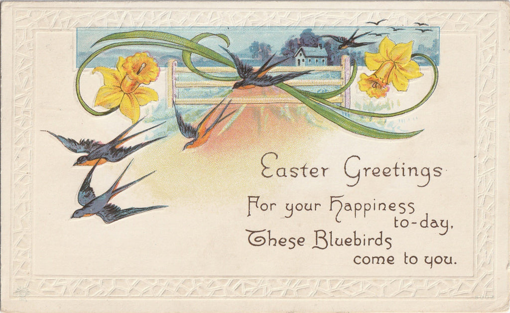 Bluebirds for Happiness - Easter Greeting - Postcard, c. 1917