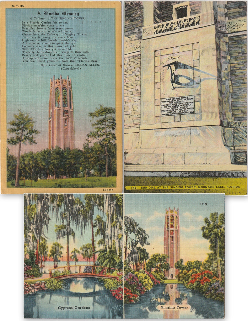 Bok Tower Gardens - Lake Wales, Florida - SET of 3 - Postcards, c. 1950s