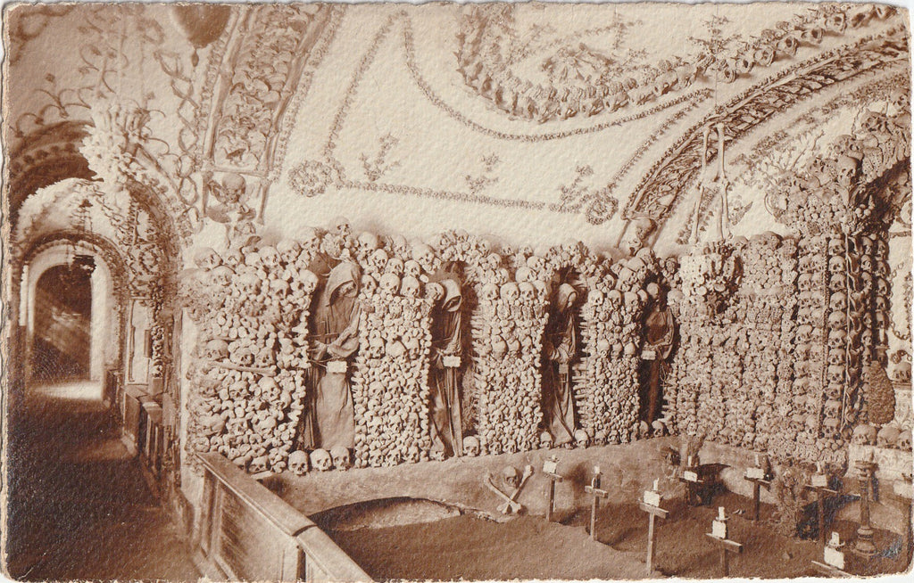 Bone Chapel Capuchin Crypt Antique Postcard