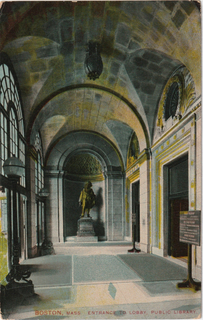 Boston Public Library, Entrance to Lobby - Boston, MA - Postcard, c. 1900s