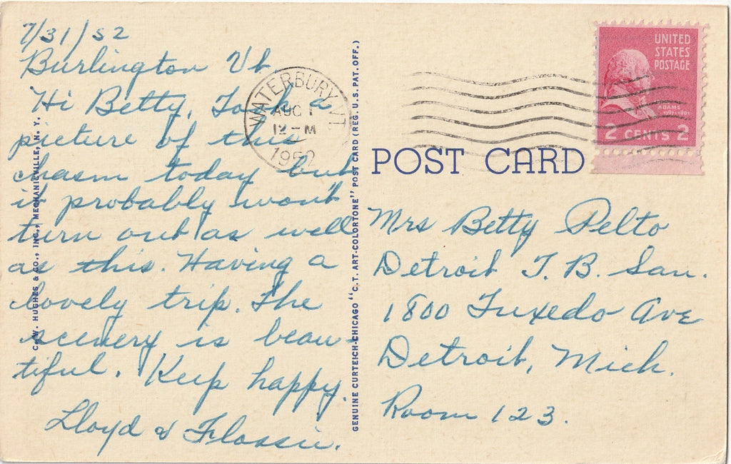 Bow and Arrow Point Lake Champlain Postcard Back