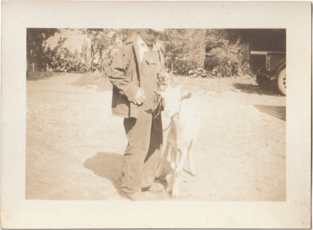 Boy and His Billy Goat Vintage Photo