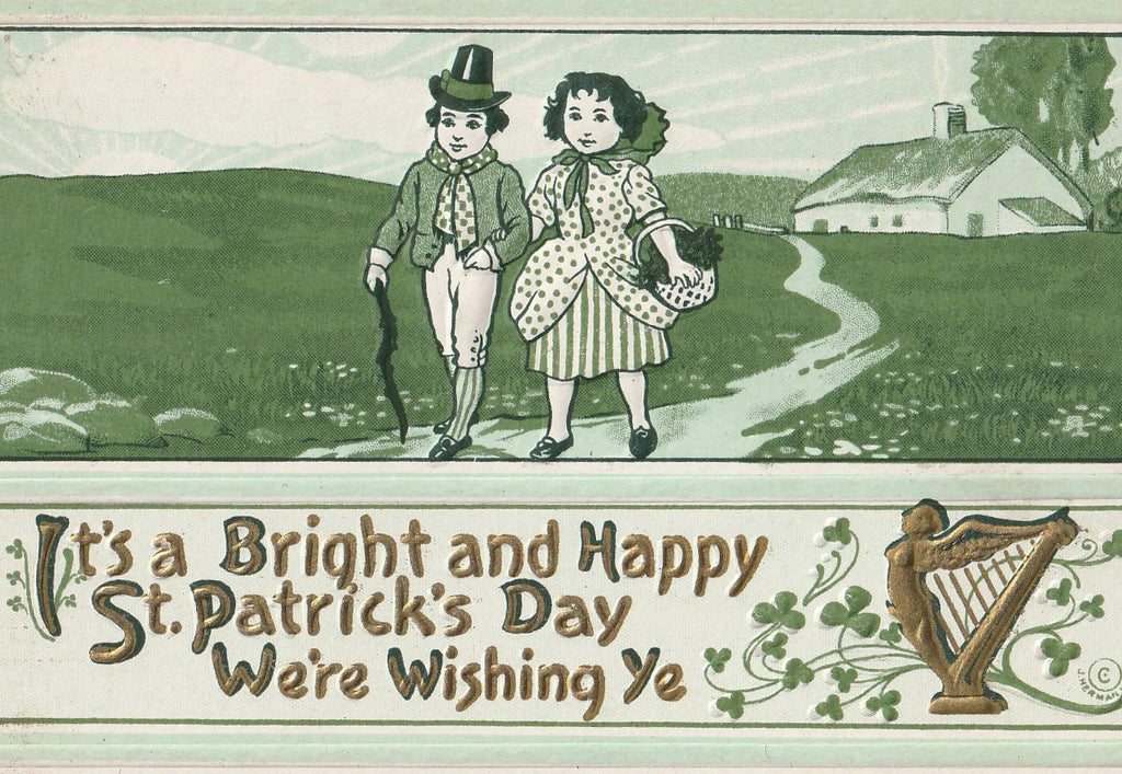 Bright St. Patrick's Day We We're Wishing Ye Antique Postcard Close Up