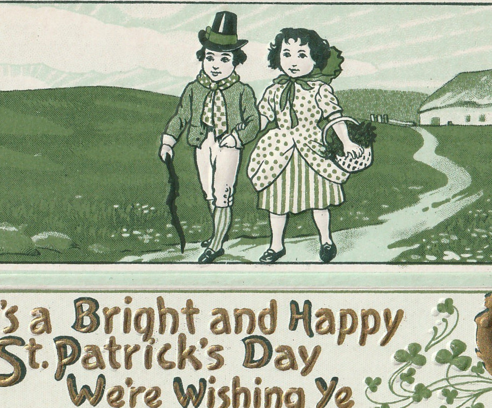 Bright St. Patrick's Day We We're Wishing Ye Antique Postcard Close Up 2