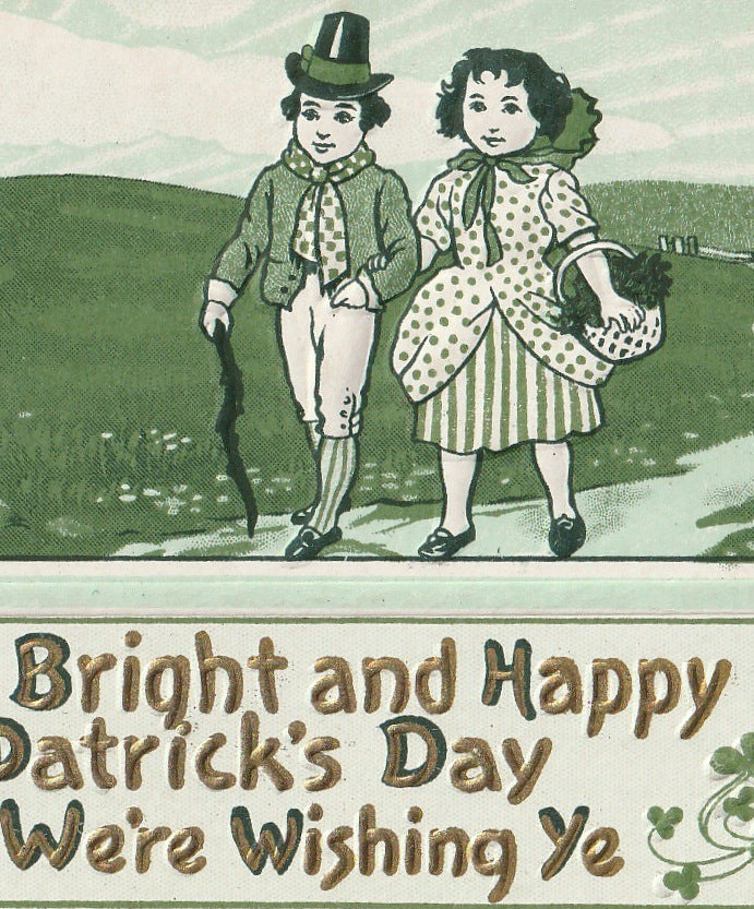 Bright St. Patrick's Day We We're Wishing Ye Antique Postcard Close Up 3