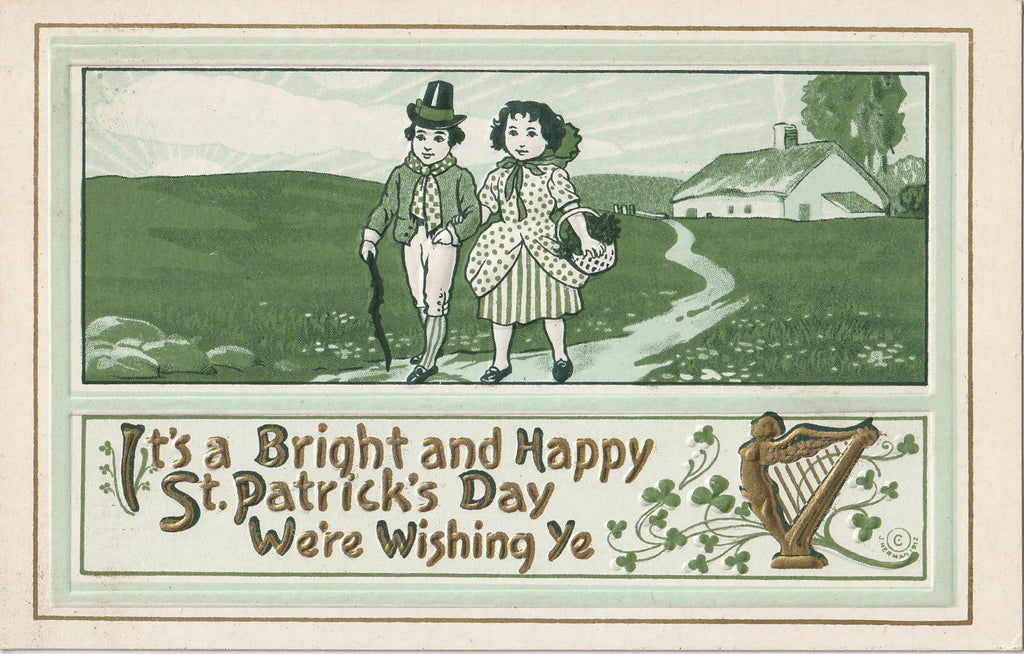 Bright St. Patrick's Day We We're Wishing Ye Antique Postcard
