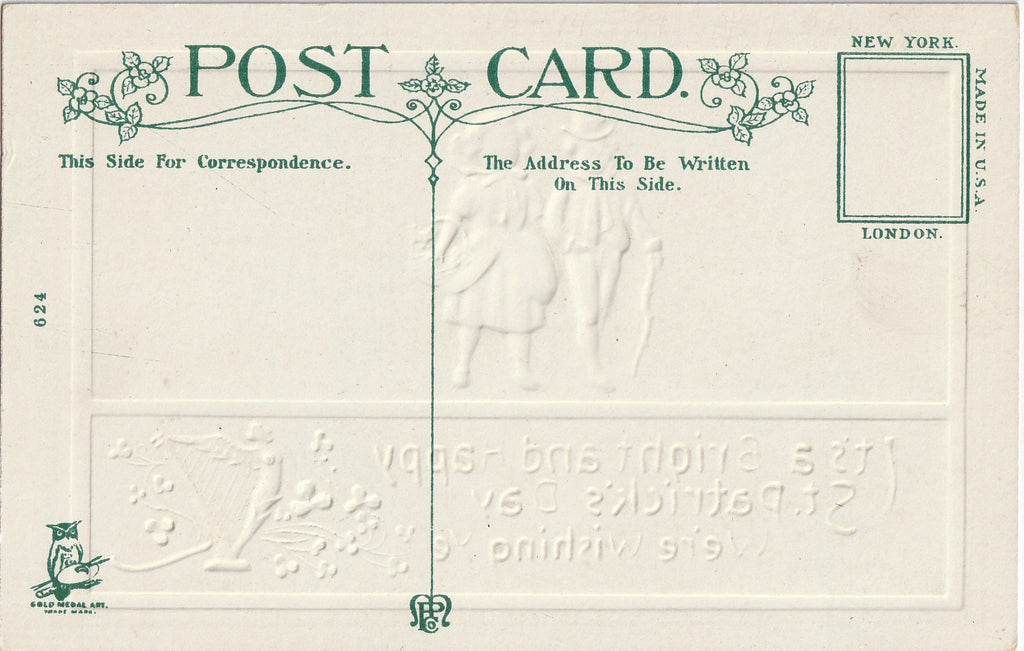 Bright St. Patrick's Day We We're Wishing Ye Antique Postcard Back