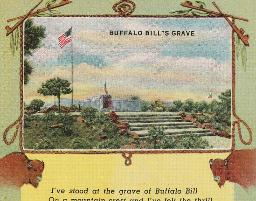 Buffalo Bill's Grave Vintage Postcard Close Up 2