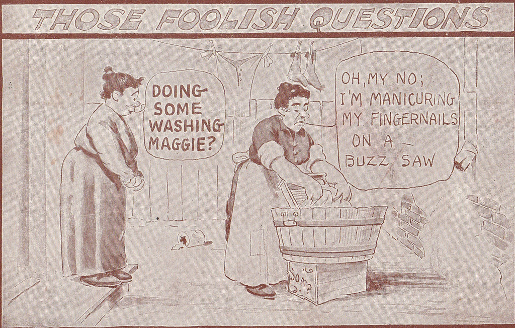 Buzz Saw Manicure Laundry Day Antique Postcard Close Up