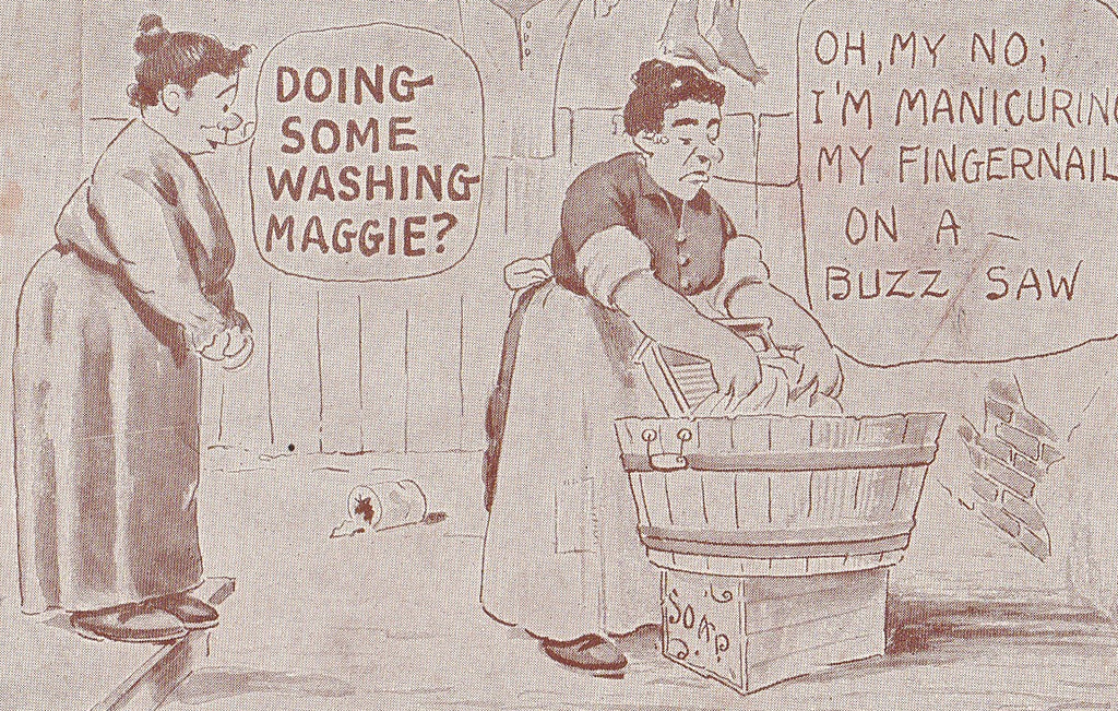 Buzz Saw Manicure Laundry Day Antique Postcard Close Up 2