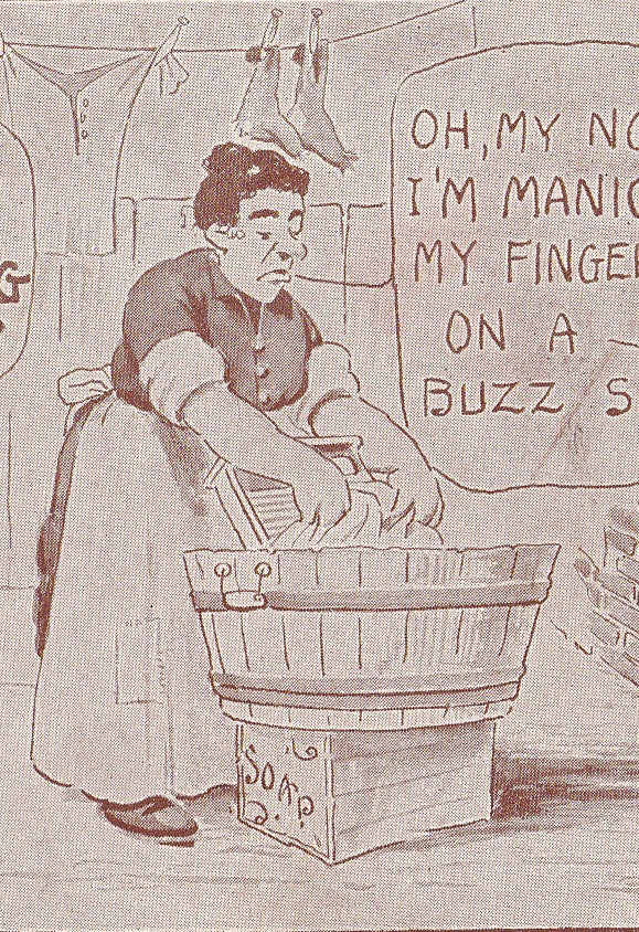 Buzz Saw Manicure Laundry Day Antique Postcard Close Up 3