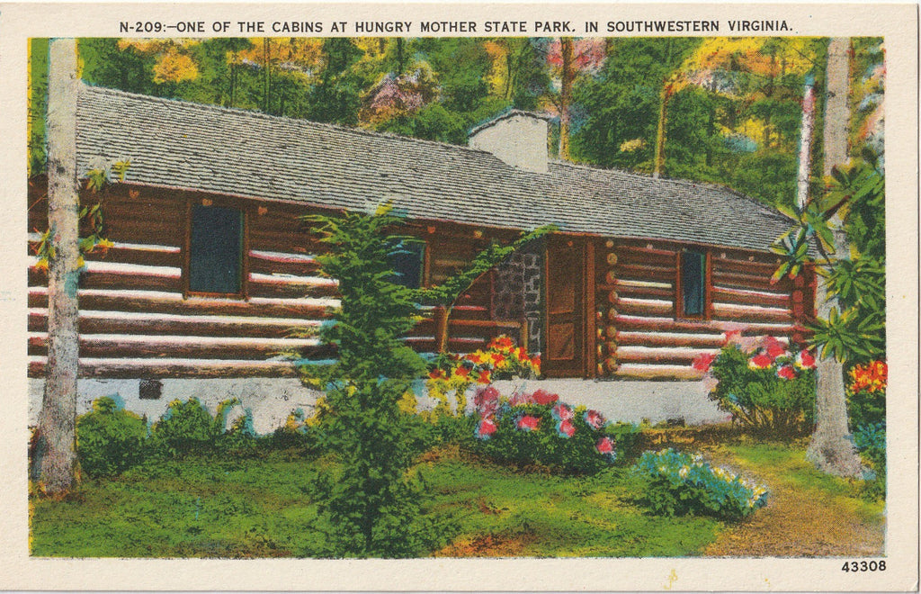 Cabin In Hungry Mother State Park Virginia Postcard