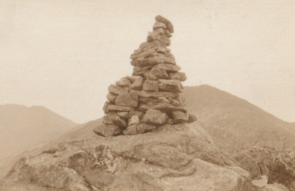Cairn on Summit of Mt. Madison Antique Photo RPPC Close Up