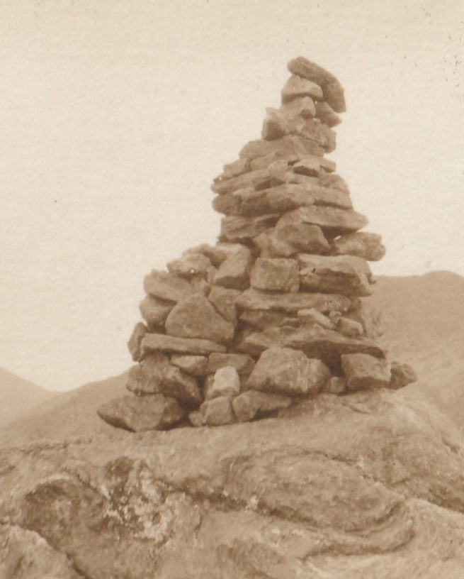 Cairn on Summit of Mt. Madison Antique Photo RPPC Close Up 2