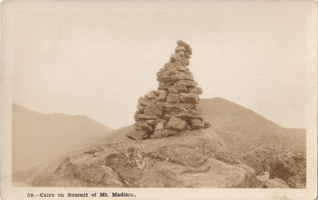 Cairn on Summit of Mt. Madison Antique Photo RPPC