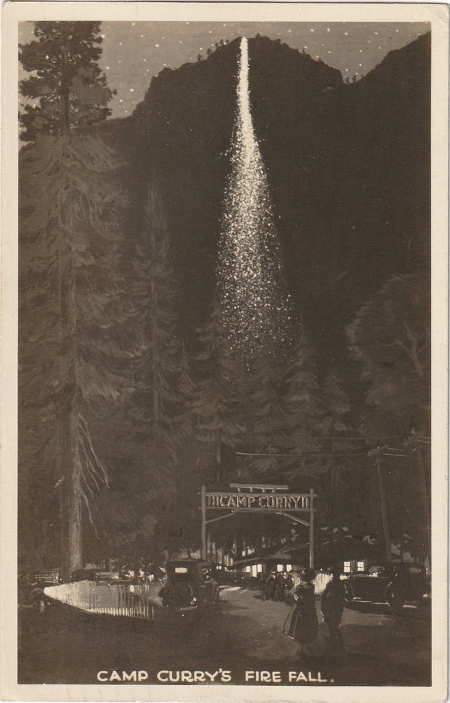 Camp Curry's Fire Fall Yosemite California Postcard