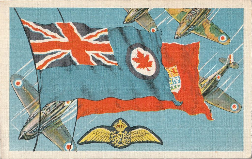 Canadian Royal Air Force Flag WW2 Vintage Postcard