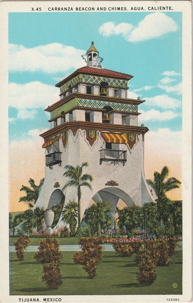 Carranza Beacon and Chime Agua Caliente Tijuana Mexico Postcard