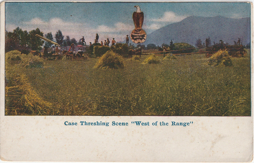 Case Threshing Scene West of the Range Postcard