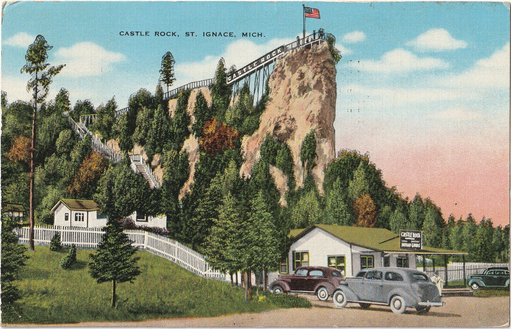 Castle Rock - St. Ignace, Michigan - Postcard, c. 1940s